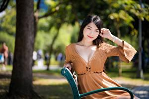 Bakgrundsbilder på skrivbordet Asiater Suddig bakgrund Brunett tjej Leende Händer Klänning Dekolletage Unga_kvinnor