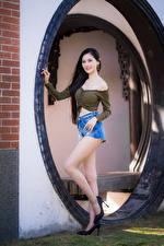 Wallpaper Asian Brunette girl Pose Legs Shorts Staring Girls