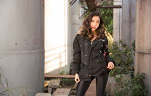 Pictures Asiatic Jacket Brown haired Staring Hands Girls