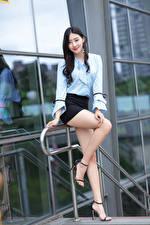 Wallpapers Asiatic Pose Legs Skirt Blouse Smile Glance Brunette girl female