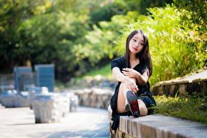 Bilder Asiatische Sitzen Bokeh Mädchens