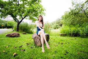 Fotos Asiaten Stein Sitzend Bein Lächeln Blick junge Frauen