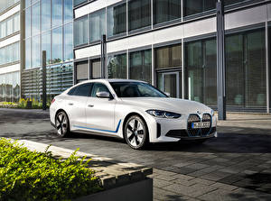Wallpaper BMW White 2021 i4 eDrive40 Worldwide