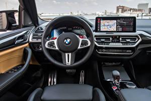 Fondos de escritorio BMW Salons Volante de dirección X3 M Competition, (Worldwide), (F97), 2021 el carro