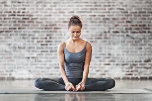 Image Sit Yoga Posing Hands Legs Baddha konasana Girls