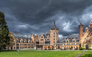 Bakgrundsbilder på skrivbordet Belgien Borg Gräsmatta Mortsel, Castle Cantecroy