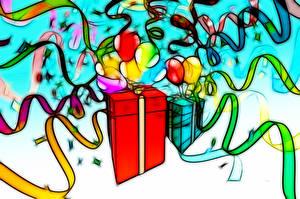 Desktop hintergrundbilder Geburtstag Geschenke Kugeln Band