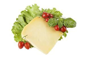 Papel de Parede Desktop Queijo Tomates Fundo branco Pedaço comida