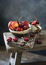Picture Cherry Peaches Boards Bokeh