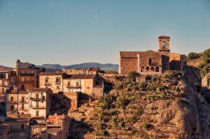 Fonds d'écran Église Bâtiment Italie Sicile Falaise