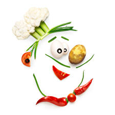 Wallpaper Creative Vegetables Potato Chili pepper Tomatoes Cabbage White background Cook Food