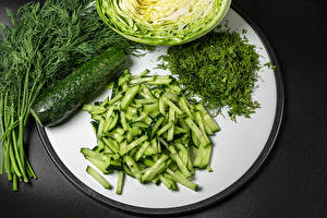 Image Cucumbers Dill Plate Sliced food Gray background