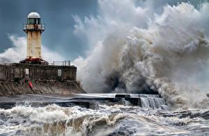 Desktop hintergrundbilder England Küste Leuchtturm Wasserwelle Seaton Carew Natur