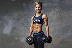 Image Fitness Bodybuilding Gray background Staring Smile Hands Dumbbell Belly female