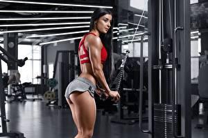 Wallpapers Fitness Brunette girl Gym Workout Ass buttocks female