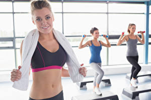 Wallpapers Fitness Towel Glance Hands Belly Blurred background Girls