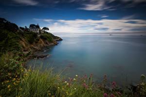 Bureaubladachtergronden Frankrijk De kust De zee Falesia Bretagne Natuur