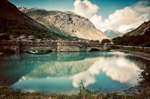 Bureaubladachtergronden Frankrijk Berg Brug Wolken Alpen Bonneval sur Arc Natuur