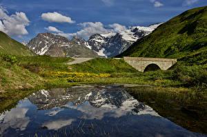 Photo France Mountains Bridges Lake Alps Col De L'iseran Nature