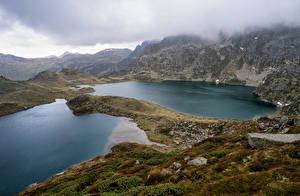 Bakgrunnsbilder Frankrike Fjell Innsjø Skyer Ariege Natur