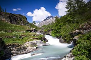 Bureaubladachtergronden Frankrijk Bergen Rivieren Steen Bomen Bonneval-sur-Arc Natuur