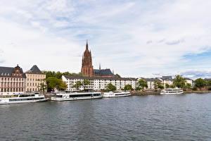 Bakgrunnsbilder Frankfurt am Main Tyskland Bygning Elver Elv Småbåthavnen Elvefartøy byen