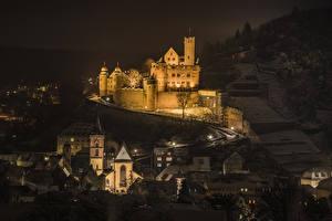 Bakgrunnsbilder Tyskland Borg Hus Natt Wertheim Castle Byer