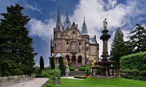 Bakgrunnsbilder Tyskland Borg Landskapsdesign Tårn Schloss Drachenburg Byer