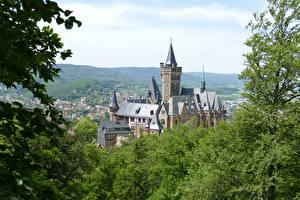 Bakgrunnsbilder Tyskland Borg Wernigerode Castle, Wernigerode city, Saxony-Anhalt en by