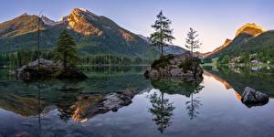 Bakgrunnsbilder Tyskland Fjell Innsjø Landskap Bayern Alpene Trær Berchtesgadener Land Natur