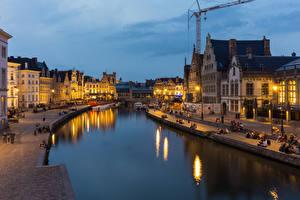 Hintergrundbilder Gent Belgien Haus Flusse Abend Straßenlaterne Städte
