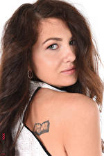 Pictures Gia Ren iStripper White background Brown haired Staring Hair Makeup Tattoos