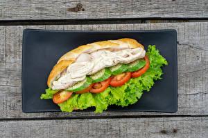 Hintergrundbilder Hotdog Brötchen Gemüse Bretter das Essen