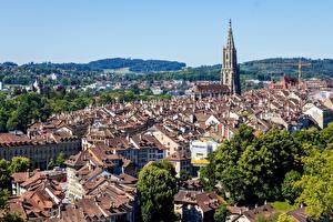 Bureaubladachtergronden Gebouwen Bern Zwitserland Een toren