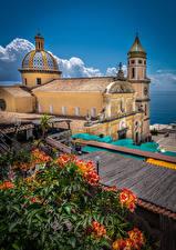 Fonds d'écran Italie Église Tour (édifice) Praiano Villes