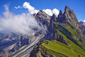 Fonds d'écran Italie Montagne Falaise Alpes Nuage Val Gardena Nature