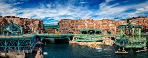 Fotos Japan Präfektur Tokio Parks Brücke Panorama Kanal Disney Sea Natur