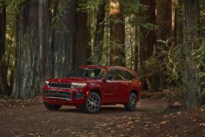 Fonds d'écran Jeep Crossover Bordeaux couleur Métallique 2021 Grand Cherokee L Overland voiture