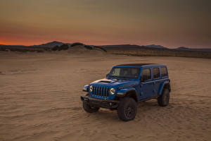 Hintergrundbilder Jeep SUV Hellblau 2021 Wrangler Unlimited Rubicon 392