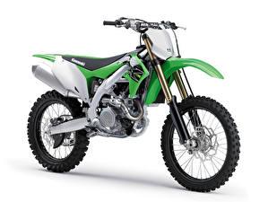 Bakgrundsbilder på skrivbordet Kawasaki Sidovy Vit bakgrund 2018-21 KX450 Motorcyklar