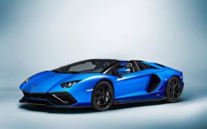 Bilder Lamborghini Blau Metallisch Roadster Aventador LP 780-4 'Ultimae' Roadster (LB834), 2021 Autos