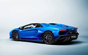 Hintergrundbilder Lamborghini Blau Metallisch ventador LP 780-4 'Ultimae' Roadster (LB834), 2021 Autos
