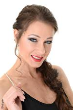 Image Melisa Mendiny iStripper White background Brunette girl Glance Makeup Smile Hands Girls