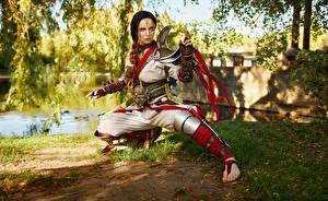 Images Mikhail Davydov photographer Ninjas Pose Armor Costume play Kunoichi Girls