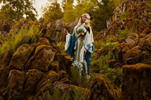 Sfondi desktop Mikhail Davydov photographer Pietre In posa Muschio Cosplay Zelda giovani donne Fantasy