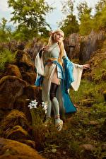 Sfondi desktop Mikhail Davydov photographer The Legend of Zelda Ragazza bionda In posa Abito Cosplay Zelda giovani donne Fantasy