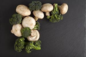 Pictures Mushrooms Agaricus bisporus Broccoli Gray background
