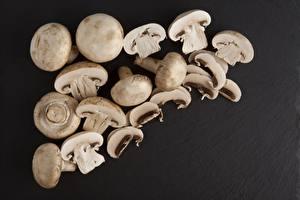 Hintergrundbilder Pilze Viel Zucht-Champignon Grauer Hintergrund Geschnitten Lebensmittel