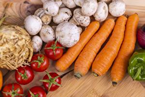 Fondos de escritorio Seta Tomates Zanahoria Alimentos