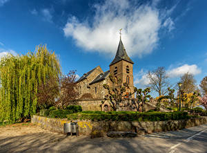 Picture Netherlands Church Clouds Trees Asselt